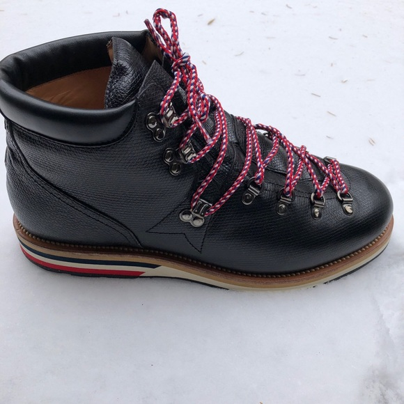 e5cca75c8881 Moncler Pebble-Grain Leather Hiking Boots Worn 1x.  M 5be744a30cb5aa8499f07b60